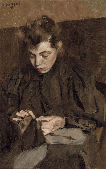 Henri Evenepoel - La couture; Creation Date: 1893; Medium: Oil on panel; Dimensions: 10.79 X 6.97 in (27.4 X 17.7 cm)