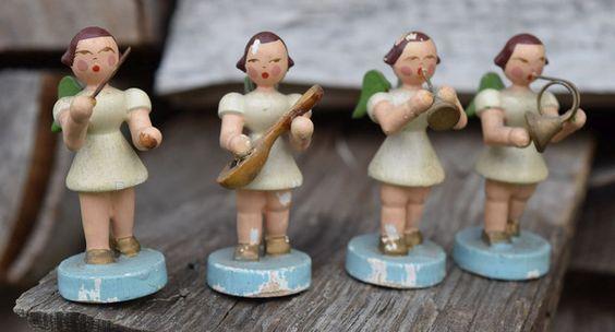 Deko und Accessoires für Weihnachten: Vintage Erzgebirge Musizierende Mini Engelchen made by Troedeldoktor via DaWanda.com