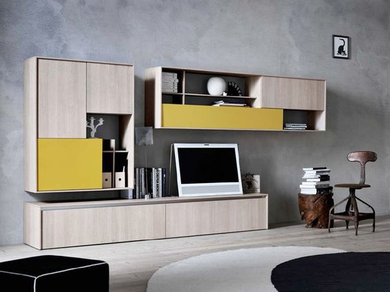 Wall-mounted lacquered melamine storage wall C_DAY K14 Collection by CESAR ARREDAMENTI | design Gian Vittorio Plazzogna