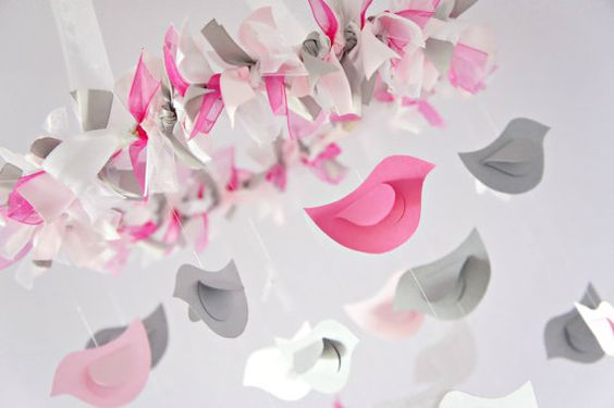 Pink & Gray Bird Nursery Mobile