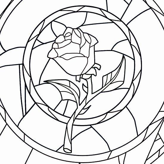 Beauty And The Beast Rose Coloring Page Best Of Stained Glass Rose White In 2020 Beauty And The Beast Art Coloring Pages Rose Coloring Pages