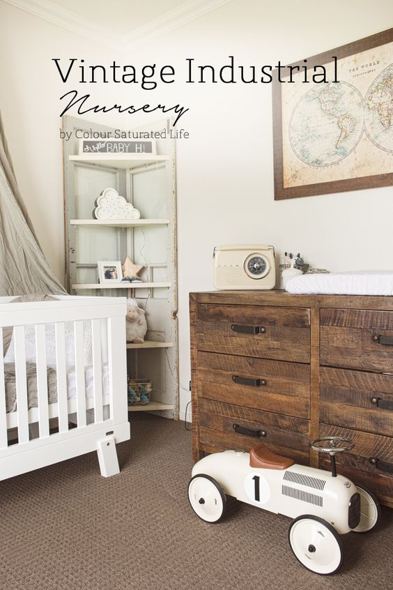 Colour Saturated Life   Vintage Industrial Nursery I am in love with this nursery!!!