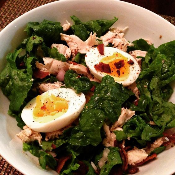 I will never get tired of this Spinach Salad with Warm Bacon Dressing (made simply with #bacon fat, red wine vinegar, local wildflower honey, #glutenfree stone-ground mustard, salt and pepper)! We roast a chicken breast, too for a little extra protein. Add medium boiled eggs, bacon crumbles and shallots. Yummo!