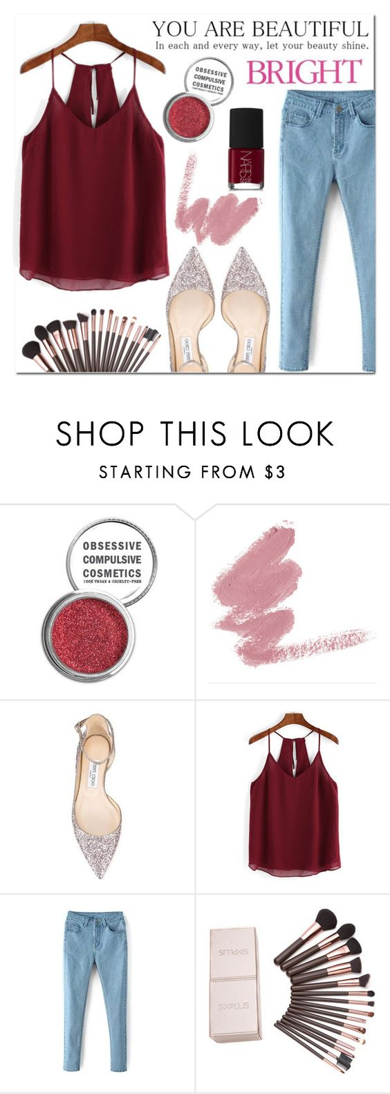 """""""RED"""" by rara19 ❤ liked on Polyvore featuring Obsessive Compulsive Cosmetics, Jimmy Choo, NARS Cosmetics and Celestine"""