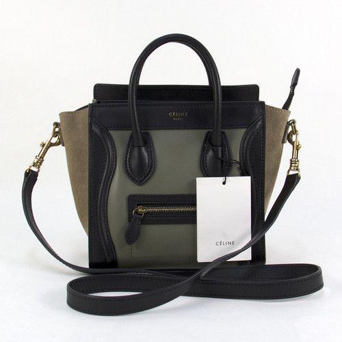 Auth Celine TRI Color Leather Luggage Nano Cross Body Tote Shoulder Bag HandBag
