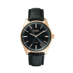 LOISIR 11L65-00074 Facet horloge - zwart leren horlogebandje - 40 mm - roségoudverguld RVS horlogekast