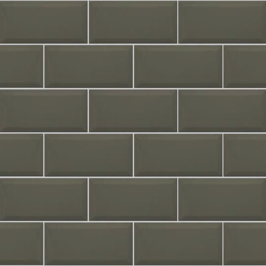 10x20cm Metro Bevelled Brick Dark Grey Tile Biselado