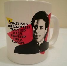 Vintage Jerry Seinfeld Sometimes the Road Less Traveled Mug Coffee Cup 1993