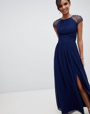 Little Mistress - Robe longue avec manches à ornements - Bleu marine