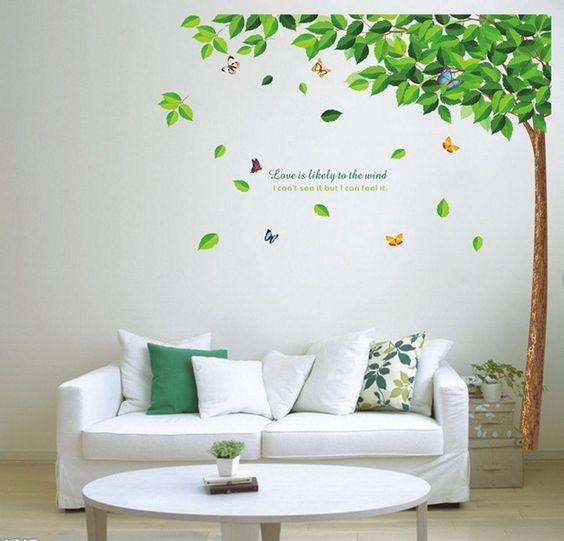 Sunnicy® Sommer Big & Beautiful Grüne Bäume mit Zitaten Wand-Aufkleber -Kunst-Wand Childrens Kids Nursery Baby- Schlafzimmer -Liebe-Baum -Dekorationen: Amazon.de: Küche & Haushalt