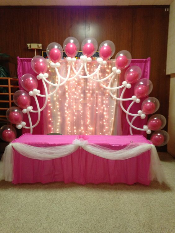 Double bubble latex balloon arch tulle and lights for Balloon decoration instructions