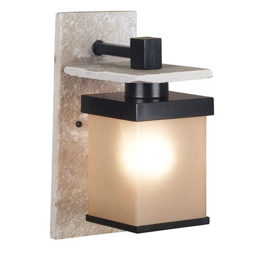Boulder Natural White Slate with Graphite Small Outdoor Wall Mount
