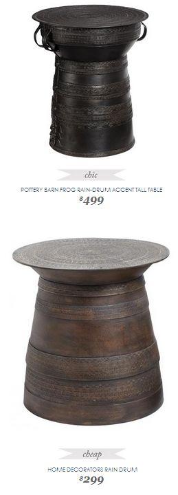 Copy Cat Chic Find Pottery Barn Frog Rain Drum Accent Tall Table Vs Home Decorators Rain Drum