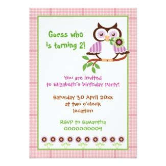 Spring owl kids birthday party rectangular invitations with plaid border in several colors!