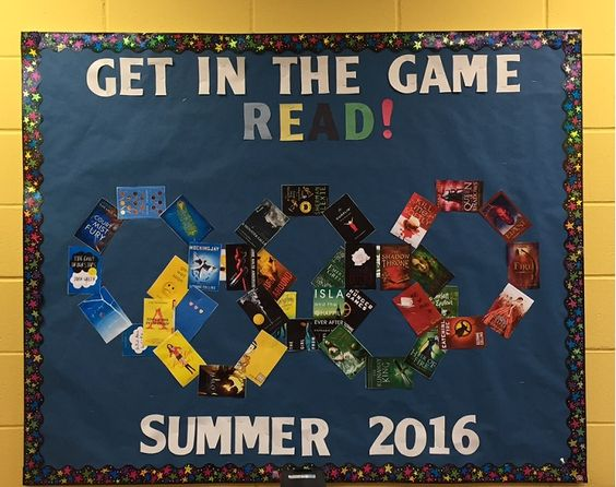 """Get in the Game  READ!""  Summer Reading Bulletin Board with Olympic rings:"