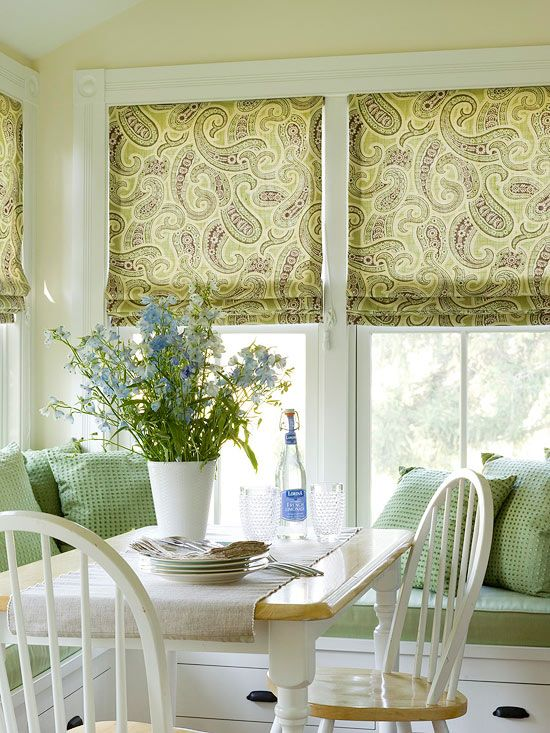 Traditional farmhouse kitchen makeover fabric shades the shade and nooks - Traditional farmhouse style dining table to enhance the room ...