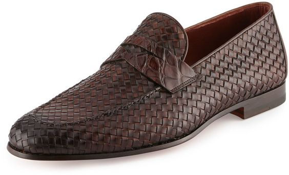 Magnanni for Neiman Marcus Woven Leather & Alligator Penny Loafer, Brown