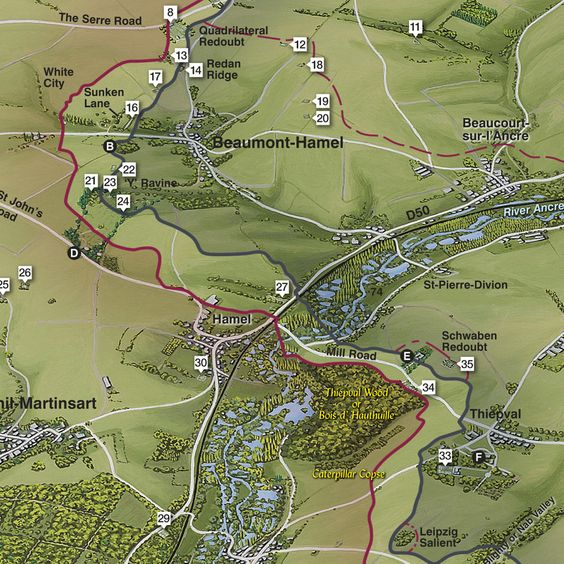 The Battle of The Somme aerial Map detail ww1 – Map Detail