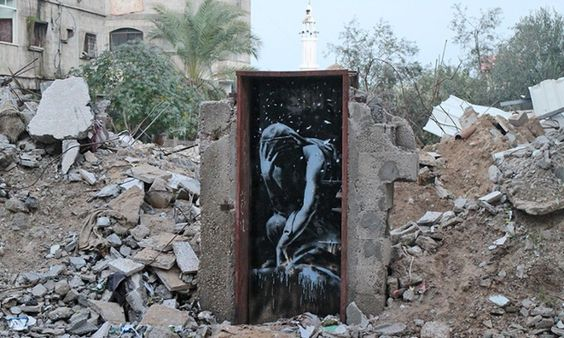 The street artist, who previously created works on the wall of the West Bank, has made a series of new paintings across ruins in Palestine