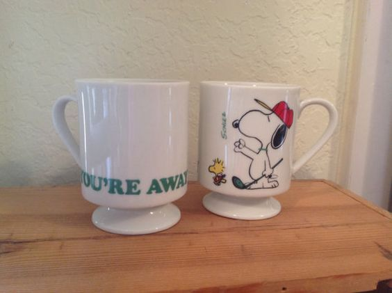 Vintage signed Snoopy mugs / Snoopy and by PureJoyVintage on Etsy