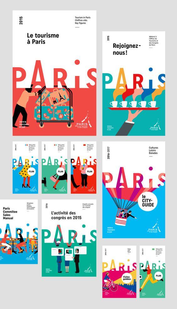 D-07-charte-graphique-editoriale-office-tourisme B-01-paris-pass-lib-editorial-design Branding Paris Logo design minimal illustrations colors fresh map minimalist flat Severin Millet