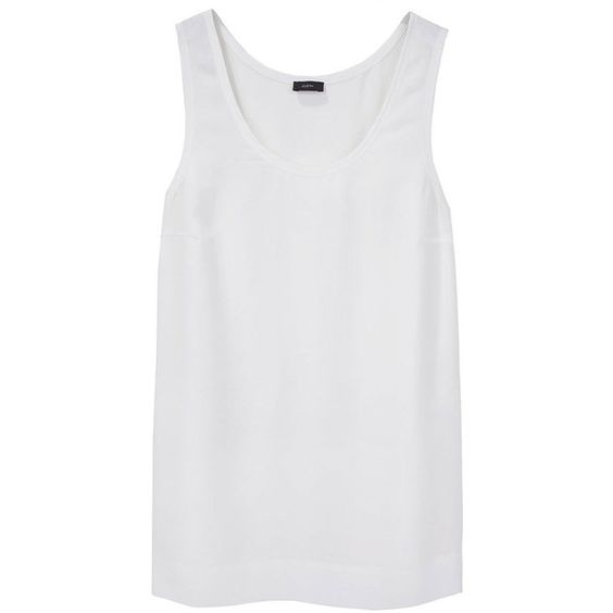 Joseph Crepe de Chine Tank (€88) ❤ liked on Polyvore featuring tops, shirts, tank tops, tanks, women, scoopneck top, relaxed fit tank top, no sleeve shirt, scoop neck tank top and sleeveless tops