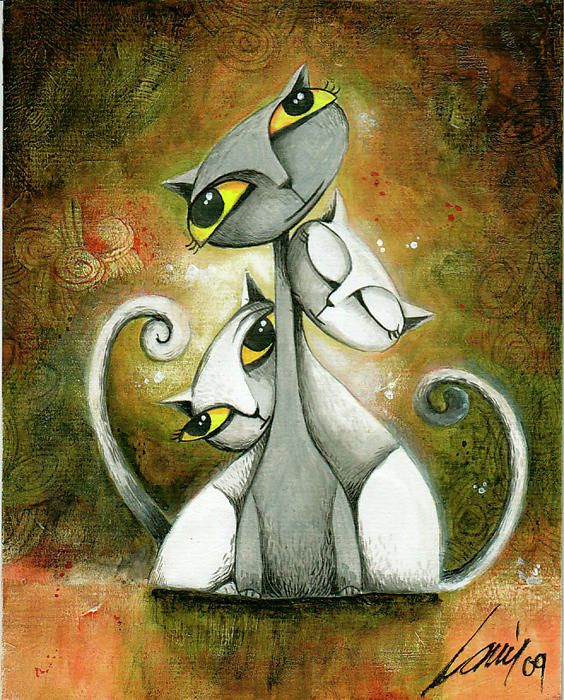 Chillin Cats Painting by Mayuri House - Chillin Cats Fine Art Prints and Posters for Sale: