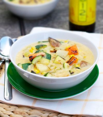 Wheat Ale Grilled Summer Veggie Chowder. The beer flavor is pretty obvious here so make sure you don't use anything with bold flavors - a nice summer wheat ale is a perfect fit.