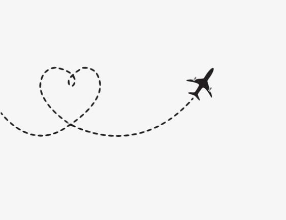 Transparent Heart Shaped Airplane Route Png Format Image With Size