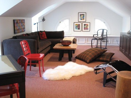 Attic transformed into cozy kids hangout room Similar to the