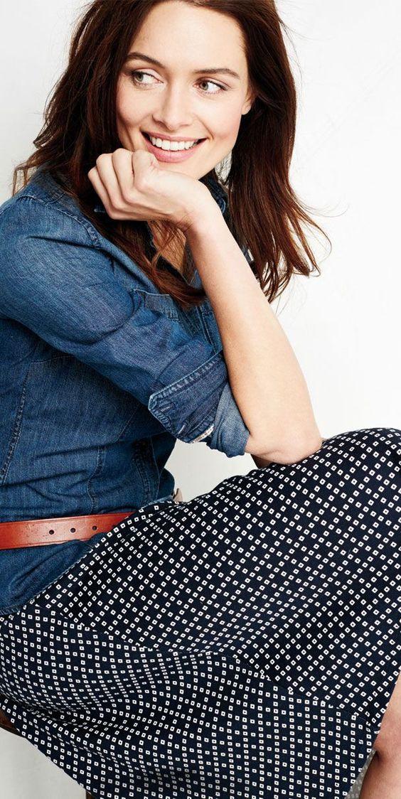 Casual Cool | Chambray + Pattern Knit Skirt + Landmark Belt | Lands' End