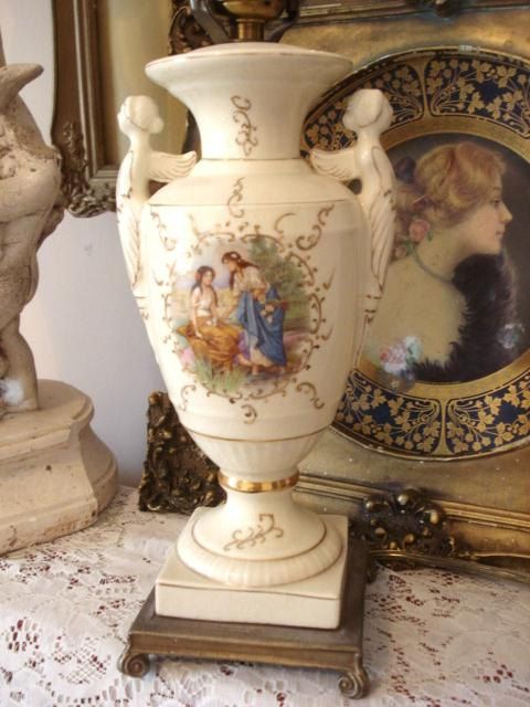 French Antique Angel Urn Lamp Porcelain French by GraceandPlenty, $68.00