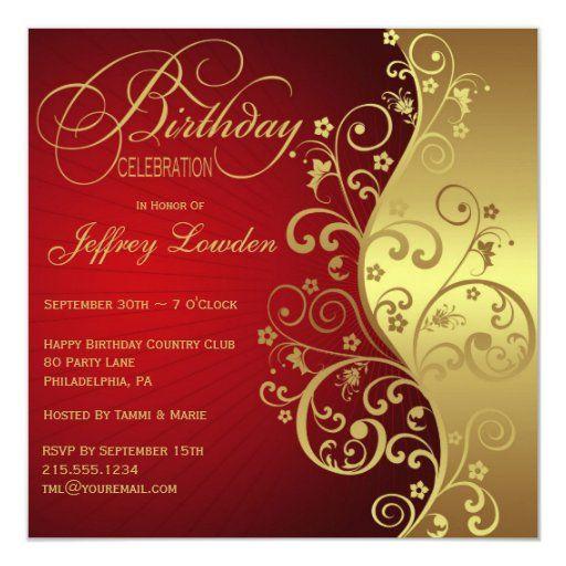 Red Gold Birthday Party Invitation Zazzle Com In 2021 60th Birthday Invitations 70th Birthday Invitations 80th Birthday Invitations