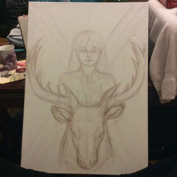 3: Looking up reference on stags I start making basic shapes, creating the size of the deers head by 1' 1/2 human heads.