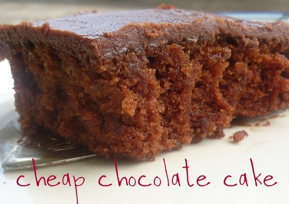 Cheap Chocolate Cake - Sprinkled with Flour - A cake using basic pantry staples, no eggs, butter or milk.