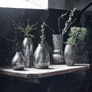 Vase en métal argenté effet vieilli Oil - Nordal
