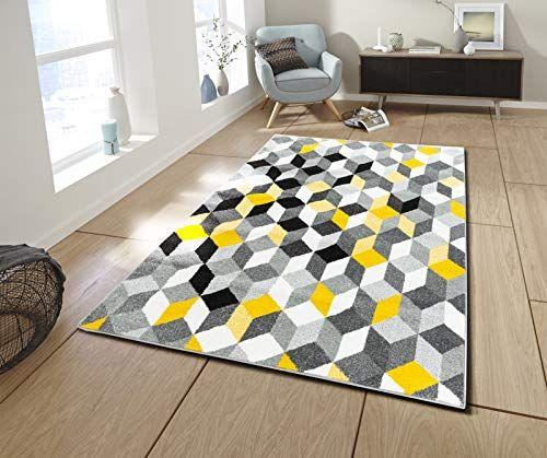 noir gris blanc jaune 200 x 280 cm