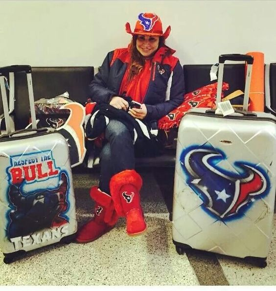 This us how a true diehard Texans fan (Debbie Chapa Brannon) travels to out of town games