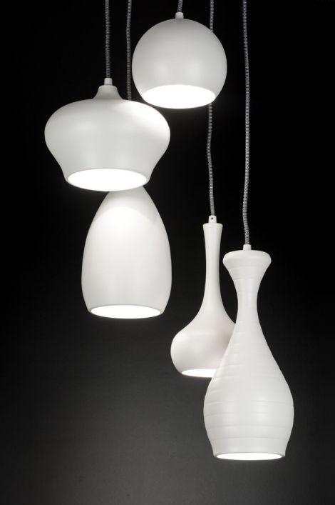 Hanglamp 89294: Modern, Metaal, Wit, Mat  GEERINK, HUISKAMER ...