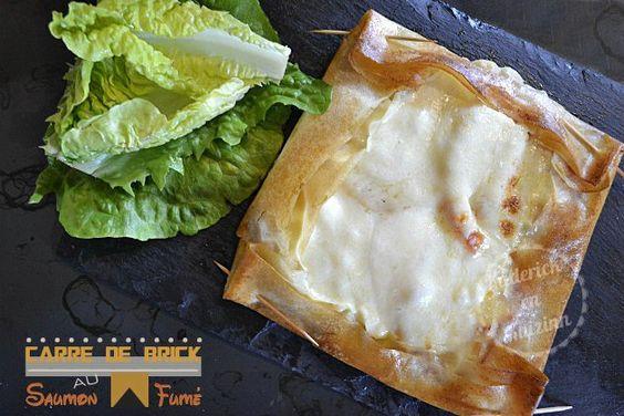 Recette brick saumon fumé en tarte carrée, tomate bio et mozzarella