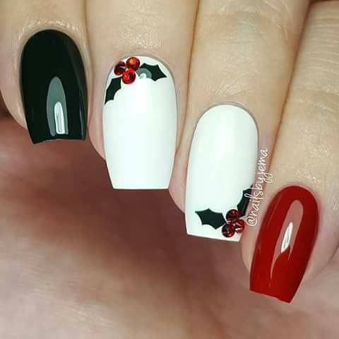 Red, green, maybe polka dots on the white