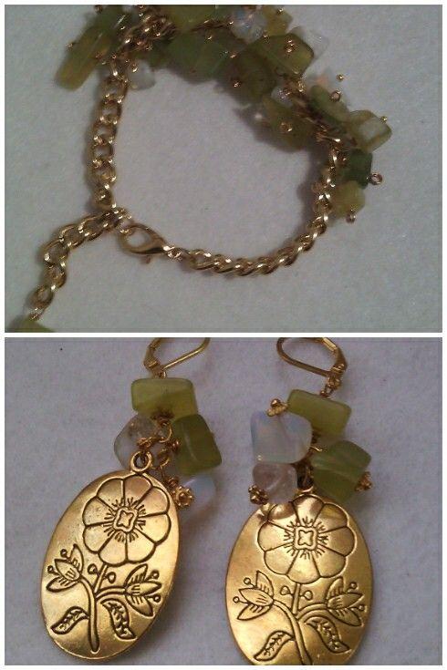 Aretes y pulsera a juego con piedras de jade y ópalo