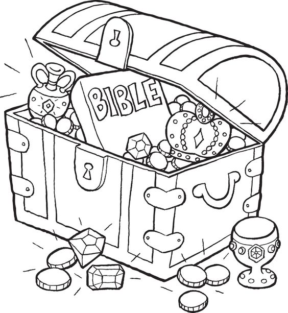 Bible Treasure Chest Coloring Page |