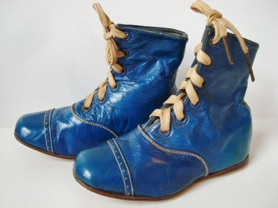 Antique Victorian Edwardian Bradley Metcalf #3 Blue Kid Leather Baby Doll Shoes