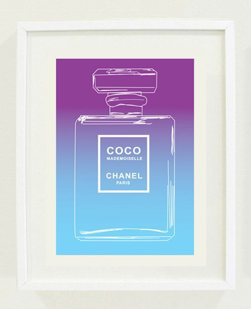 Chanel Perfume Print Purple and Blue