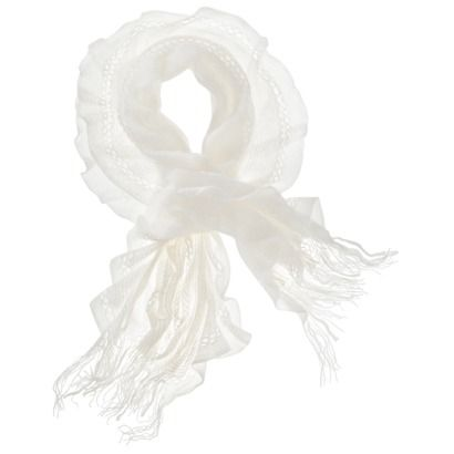 Flowing Scarf With Loose Weave With 4 Sections Of Open Diamonds and Fringe - Ivory