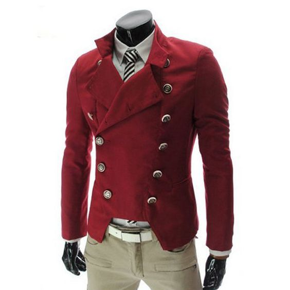 Red Mens Man's Military Cotton Double-breasted Casual Blazer Suits