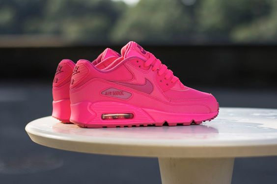 ... Details about WOMENS NIKE AIR MAX 90 2007 GS HYPER VIVID FIREBERRY Pink  SHOES | Nike ...