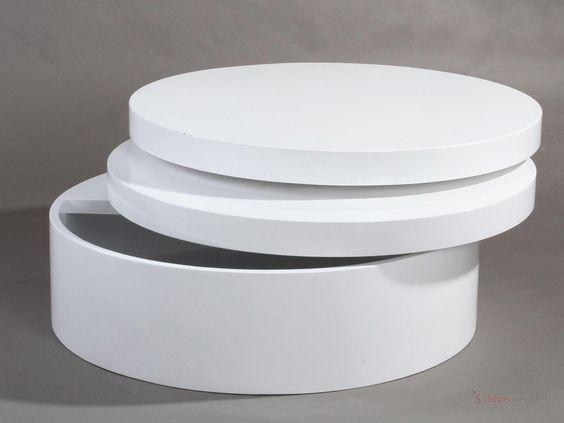 Table basse ronde laqu e extensible tolos tables basses - Table basse ronde laquee ...
