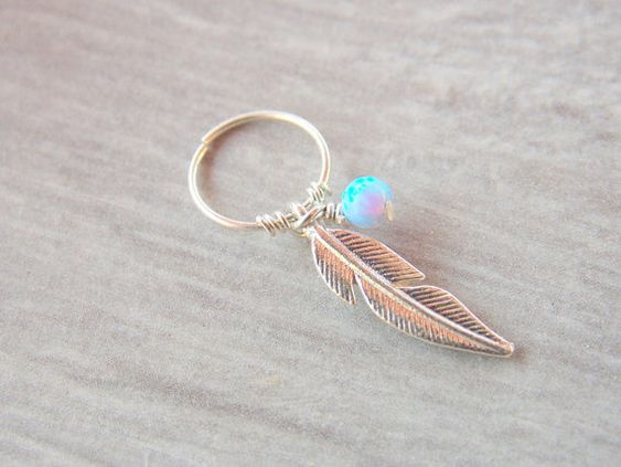 Tribal feather cartilage earring piercing, feather cartilage piercing, helix piercing jewelry